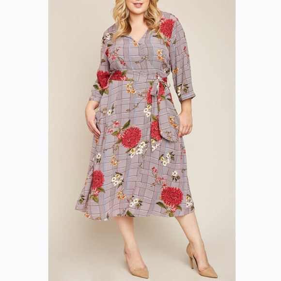 64c720548737 PLUS SIZE - Floral Print Glen Check Wrap Dress. Boutique. Hayden Los Angeles